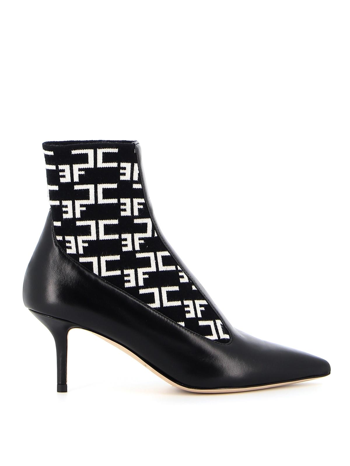 Elisabetta Franchi Leathers SOCK ANKLE BOOTS