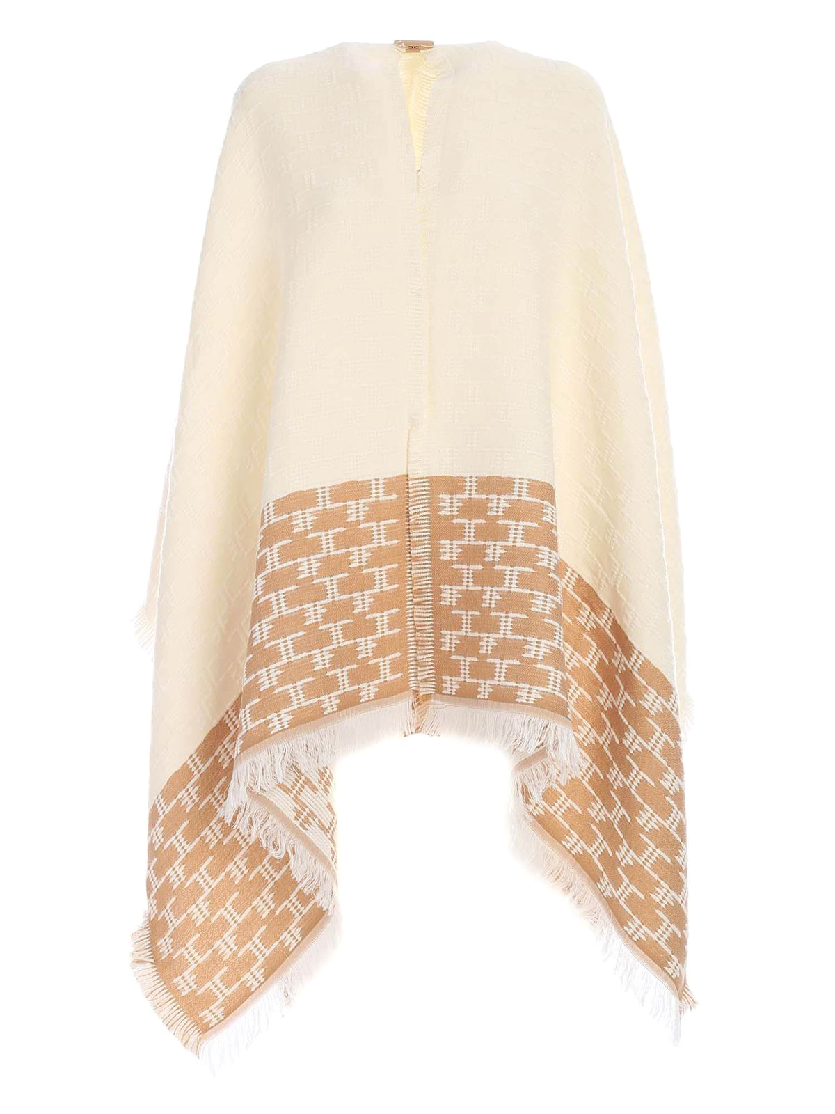 Elisabetta Franchi FRINGES CAPE IN BROWN AND WHITE