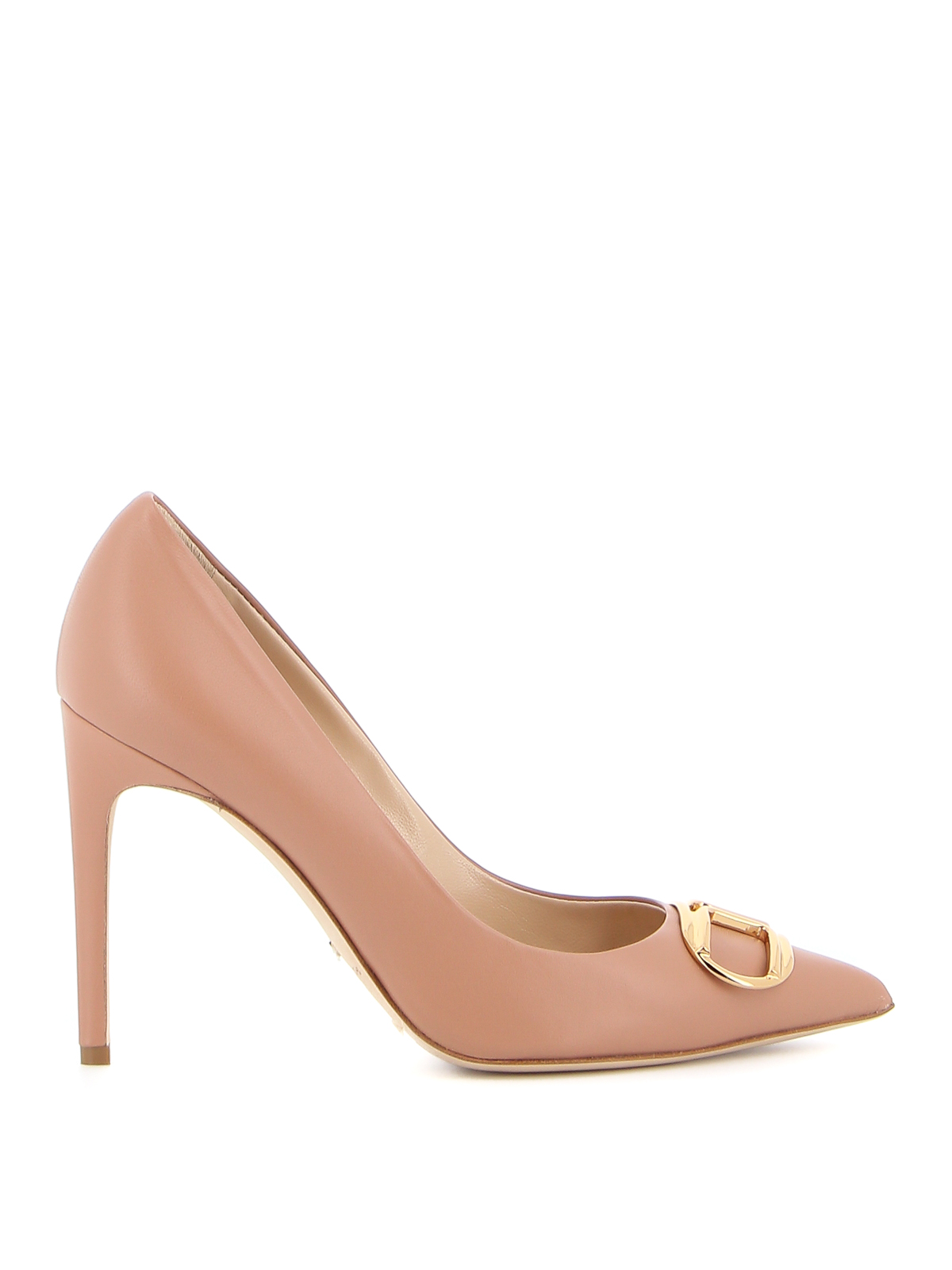 Elisabetta Franchi Leathers LEATHER PUMPS WITH LOGO BUCKLE