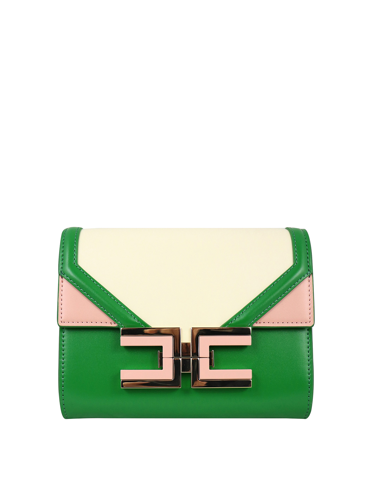 Elisabetta Franchi COLOUR BLOCK ECO LEATHER MINI CROSSBODY BAG