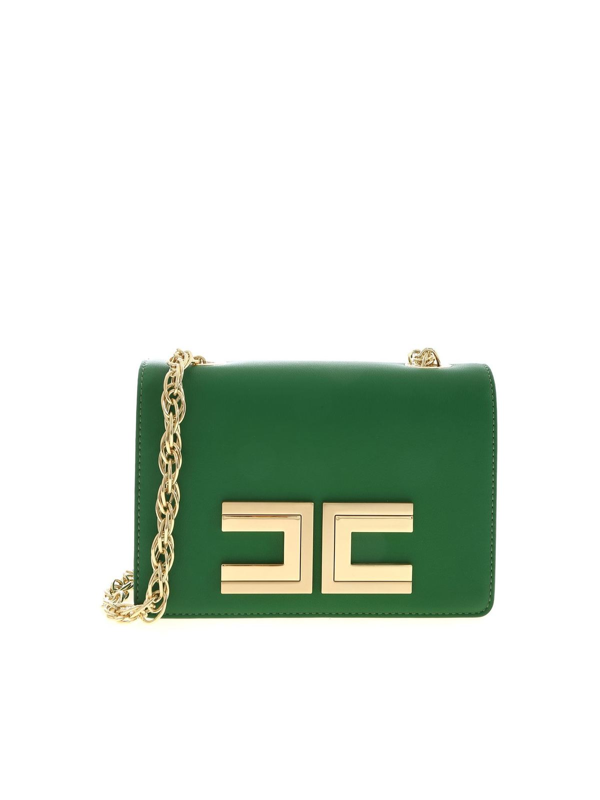 Elisabetta Franchi GOLD LOGO BAG IN GREEN