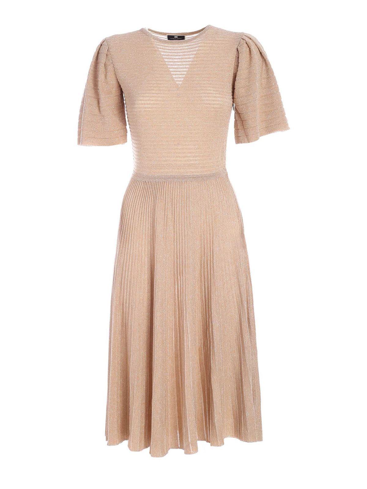 Elisabetta Franchi LAME DETAILS DRESS IN BEIGE