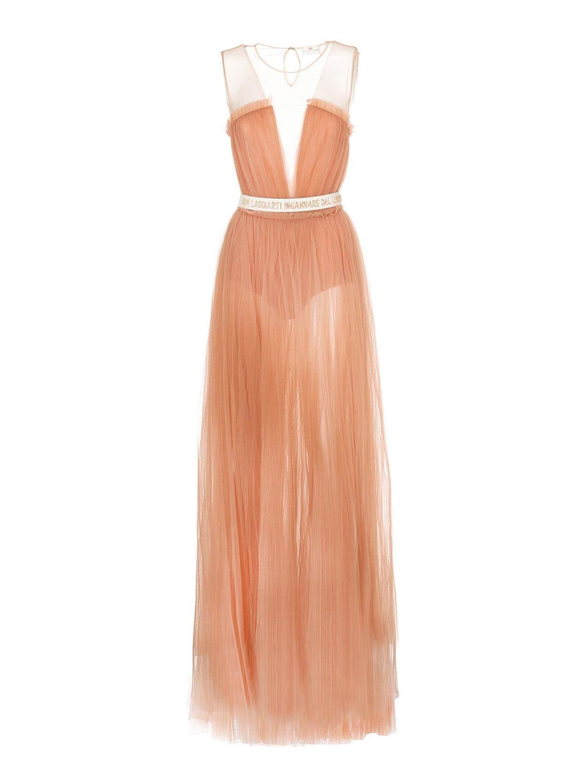Elisabetta Franchi LONG DRESS IN ROSE GOLD