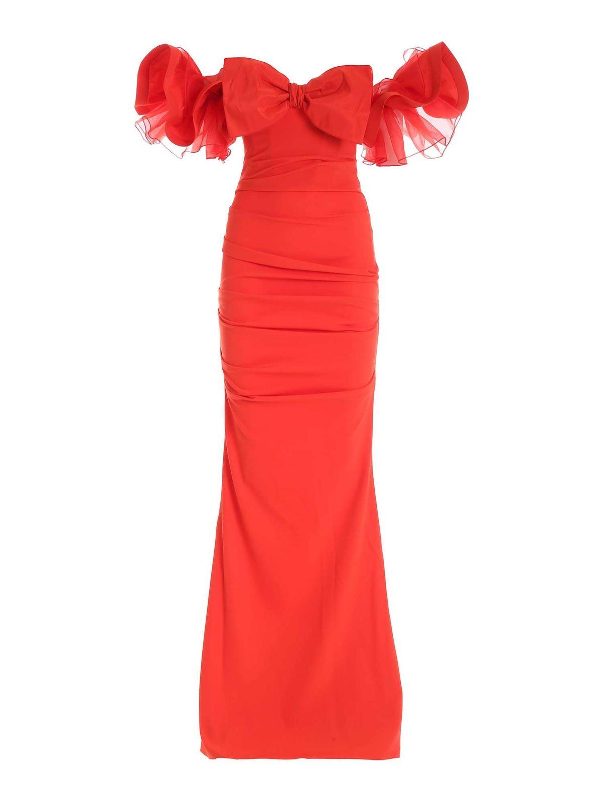 Elisabetta Franchi OFF SHOULDER RED DRESS FEATURING RUFFLES