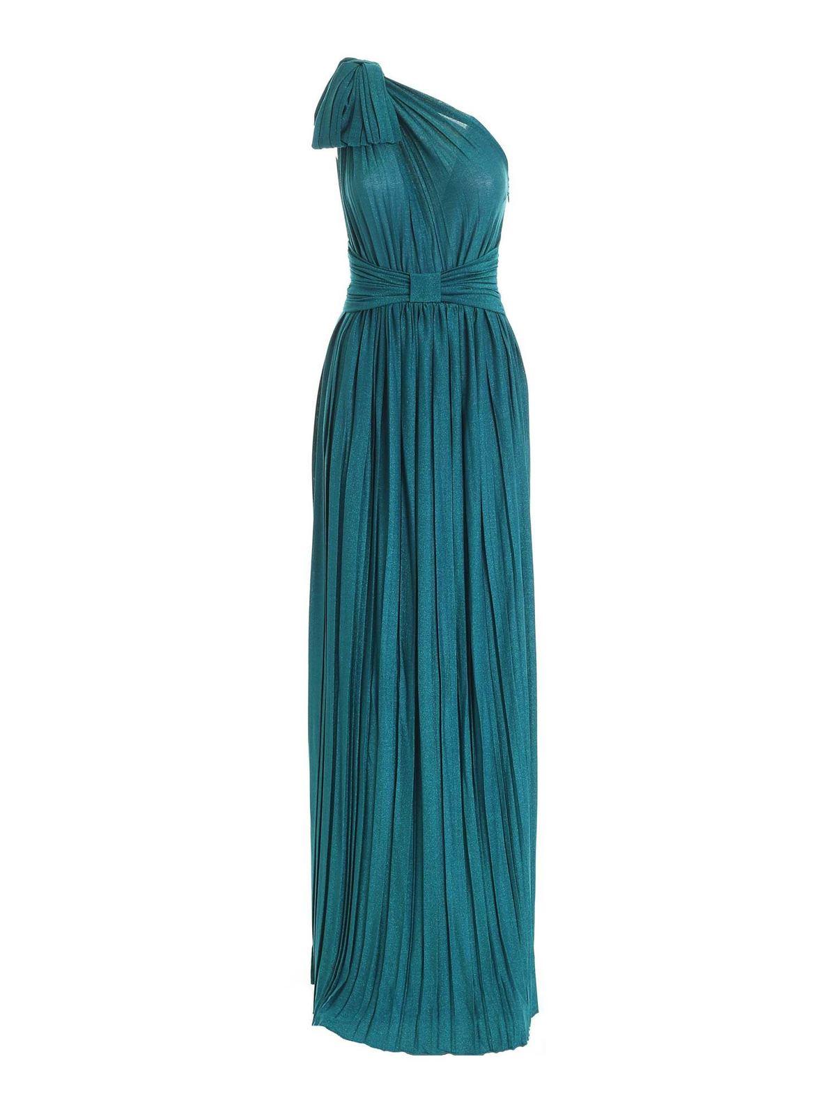 Elisabetta Franchi ONE-SHOULDER DRESS IN LAME TEAL BLUE COLOR