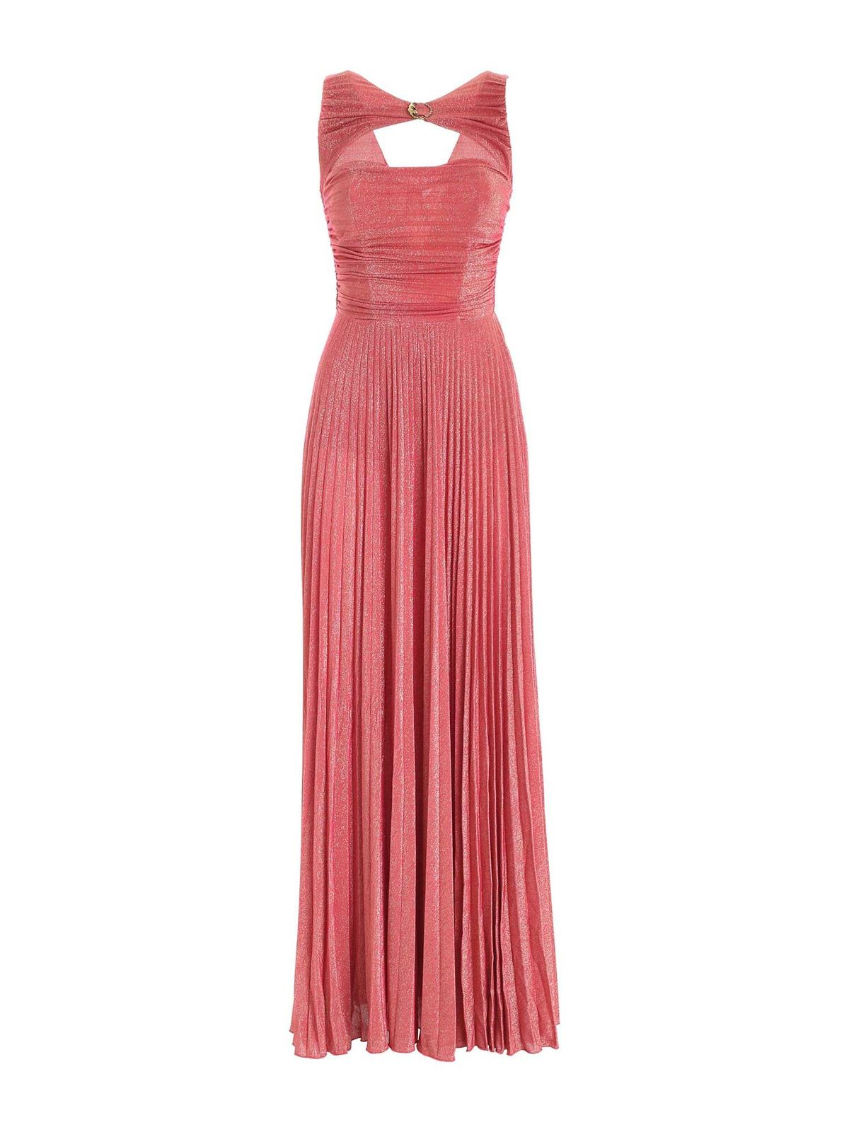 Elisabetta Franchi PLEATED DRESS IN LAME CORAL PINK