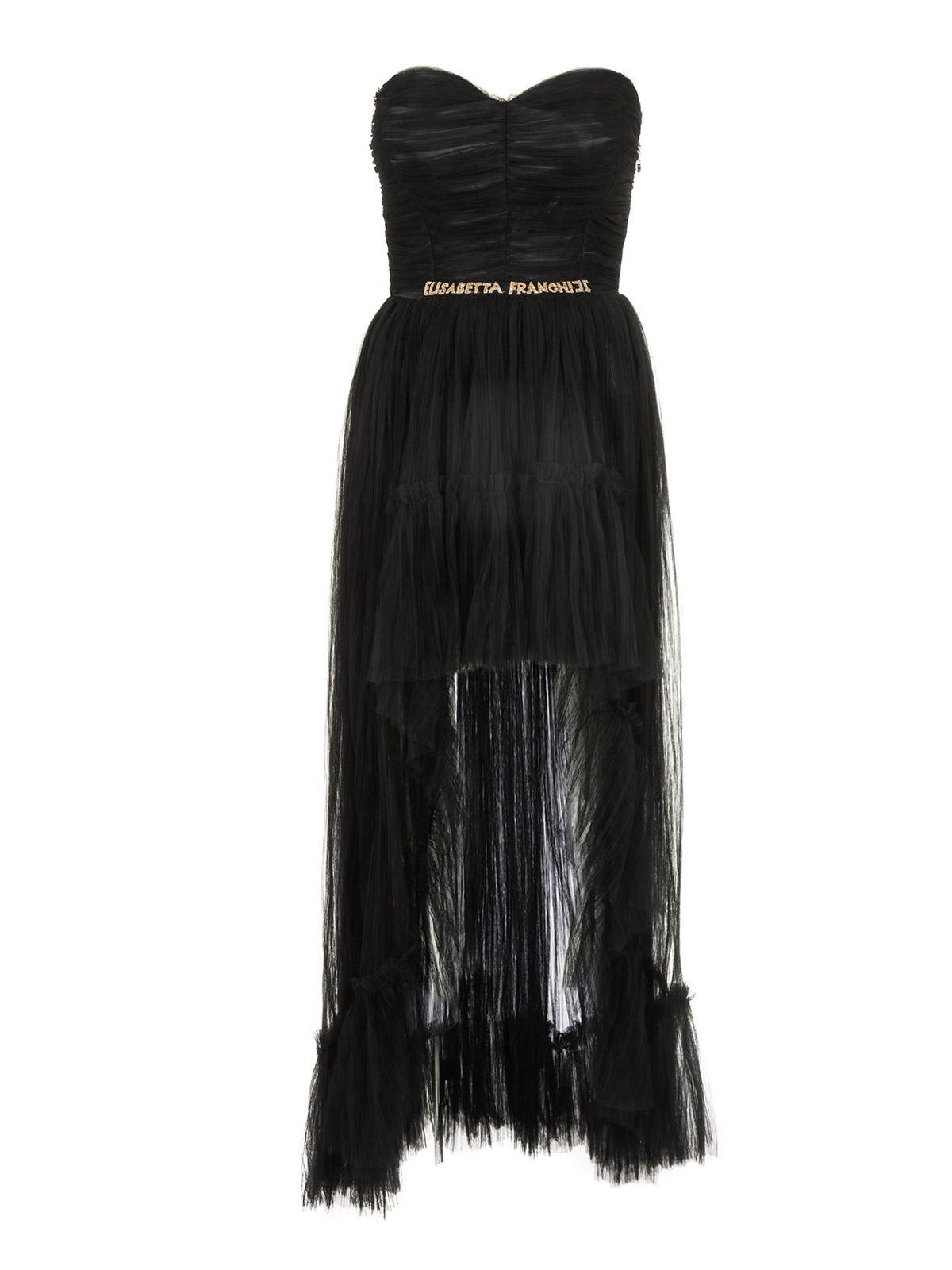 Elisabetta Franchi RED CARPET DRESS IN BLACK