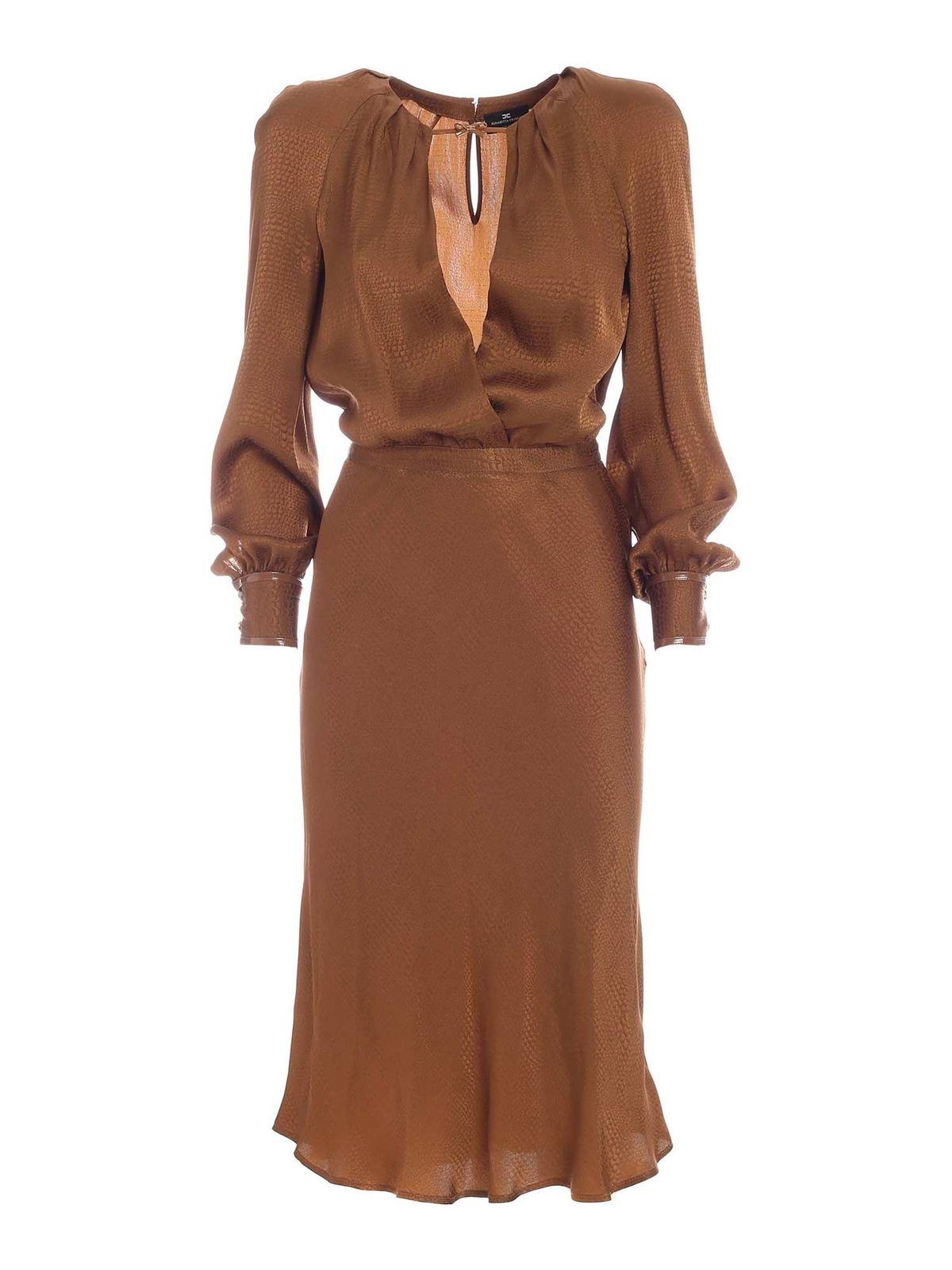 Elisabetta Franchi REPTILE PRINT RAGLAN SLEEVES DRESS IN BROWN