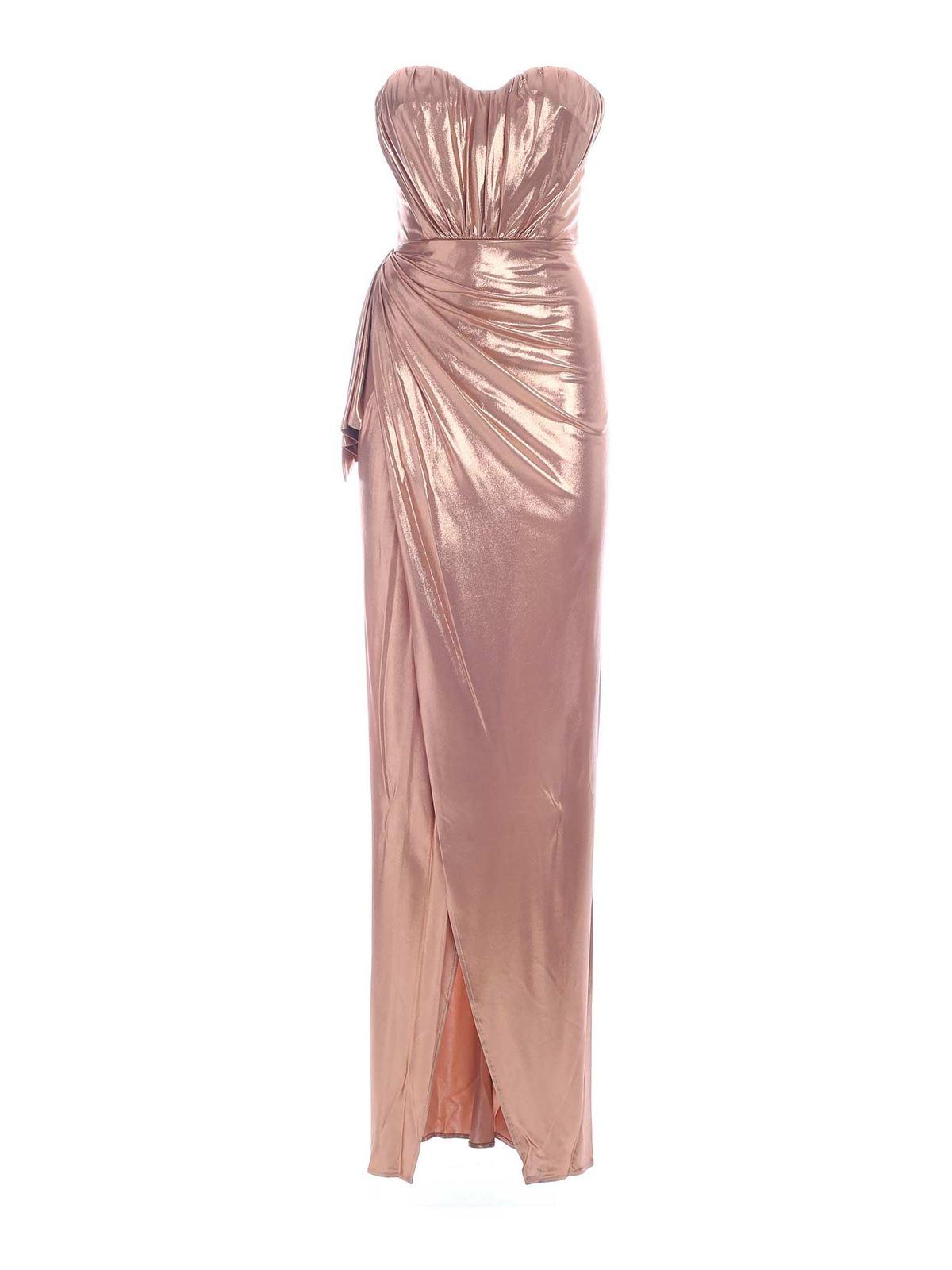 Elisabetta Franchi RIBBON LONG DRESS IN PINK