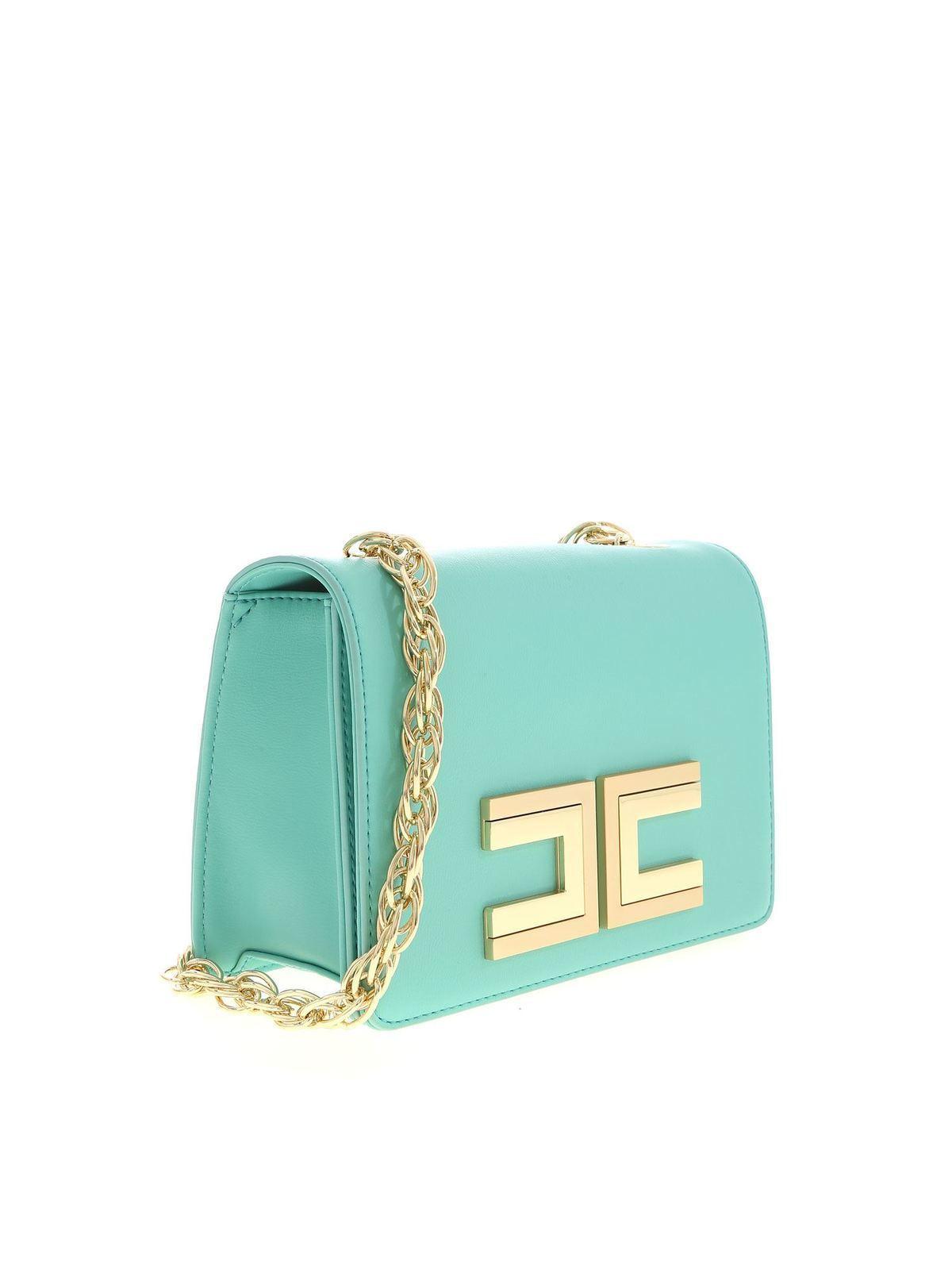 Borse Tiffany.Elisabetta Franchi Borsa Color Tiffany Con Logo Dorato Borse A Tracolla Bs12a01e2v229y04
