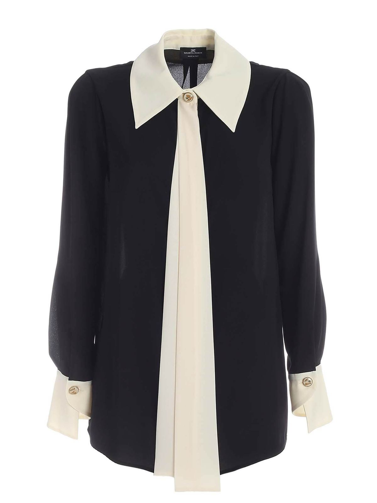 Elisabetta Franchi BLACK AND WHITE SHIRT SHIRT FEATURING FRONT R