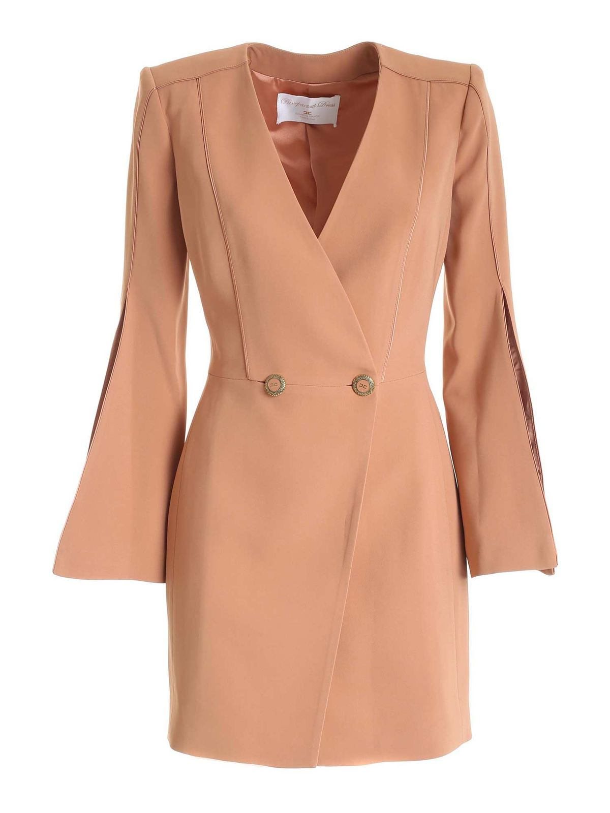 Elisabetta Franchi CREPE DOUBLE-BREASTED DRESS IN NUDE COLOR