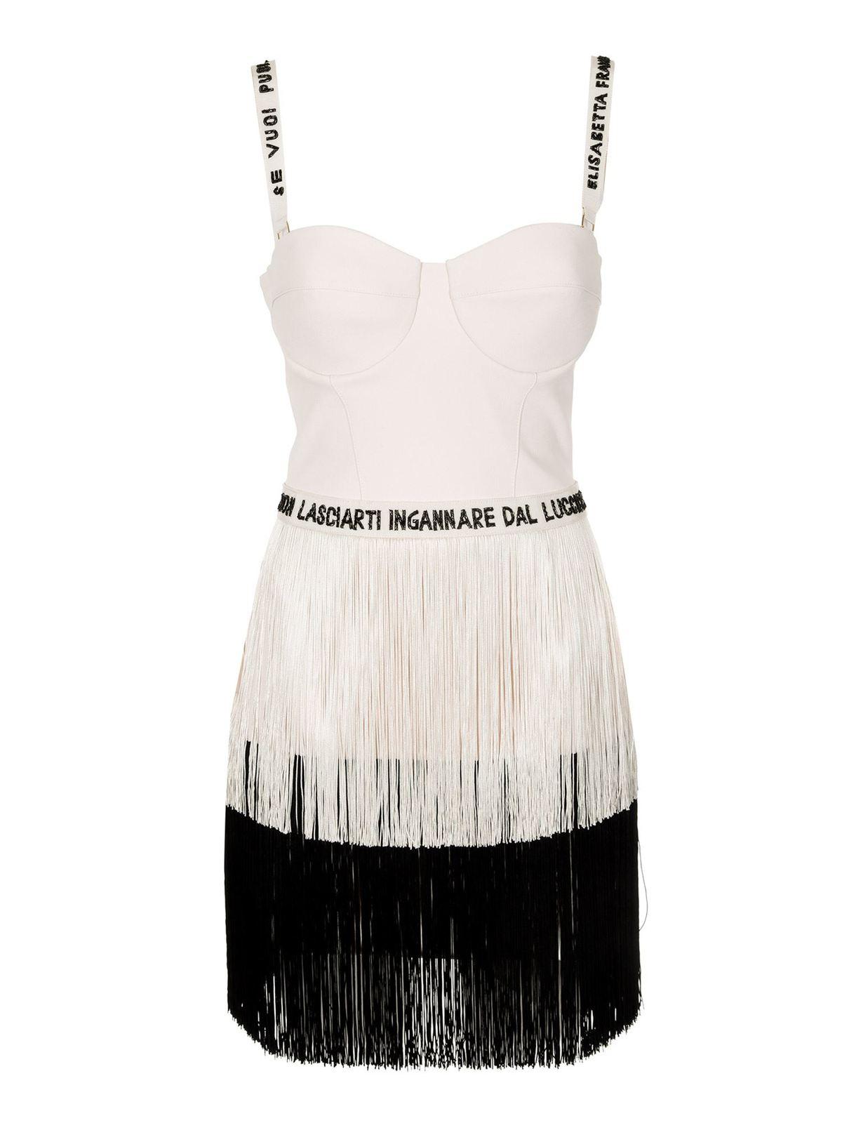 Elisabetta Franchi FRINGED DRESS IN BLACK AND WHITE