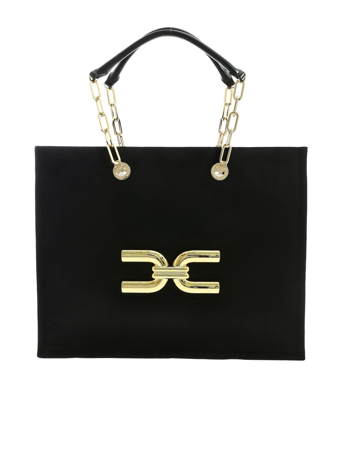 Elisabetta Franchi GOLDEN LOGO SHOULDER BAG IN BLACK