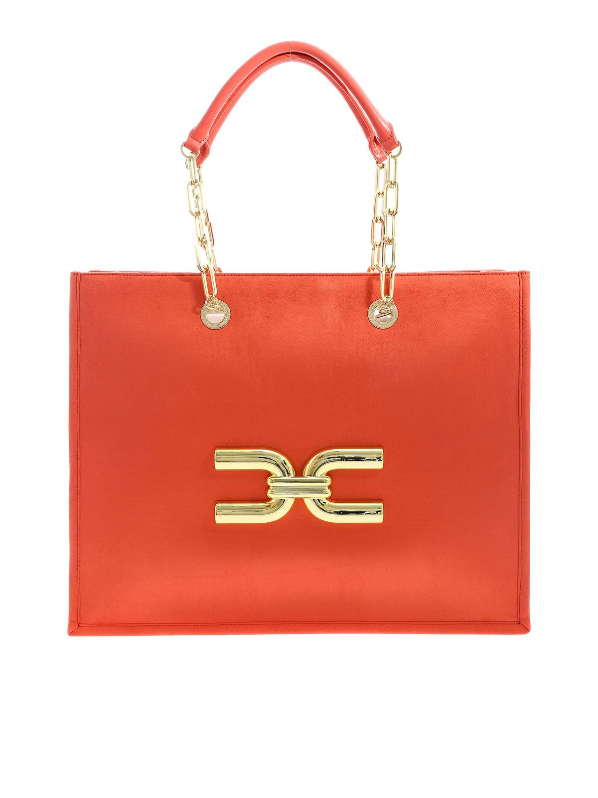 Elisabetta Franchi GOLDEN LOGO SHOULDER BAG IN CORAL COLOR