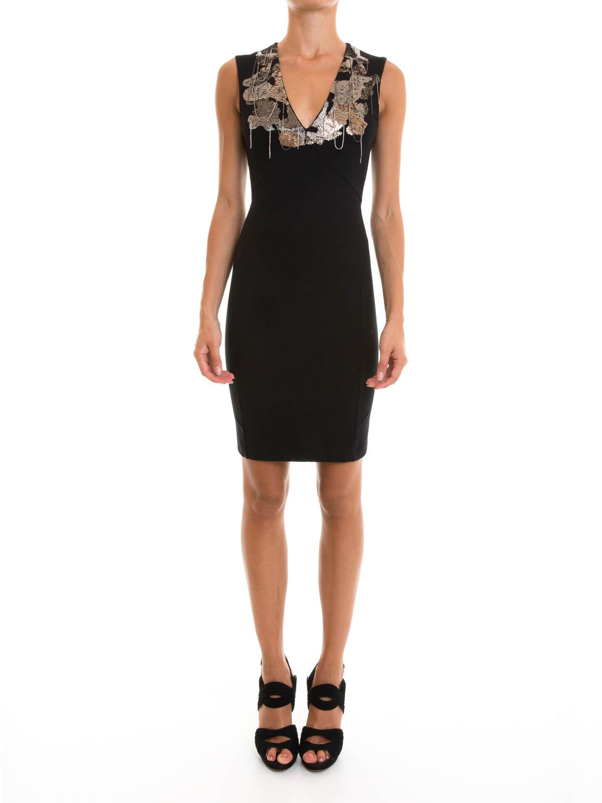 Embellished V-neck sheath dress by Roberto Cavalli - cocktail ...