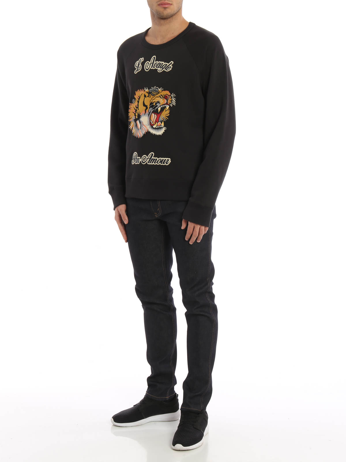 0eb7985205f Gucci - Embroidered tiger patch sweatshirt - Sweatshirts   Sweaters ...