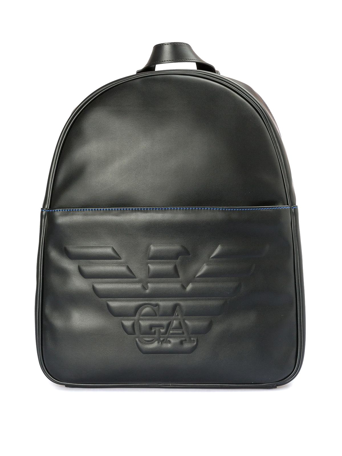 82620f0aae Emporio Armani - Zaino con maxi logo e profilo blu - zaini ...