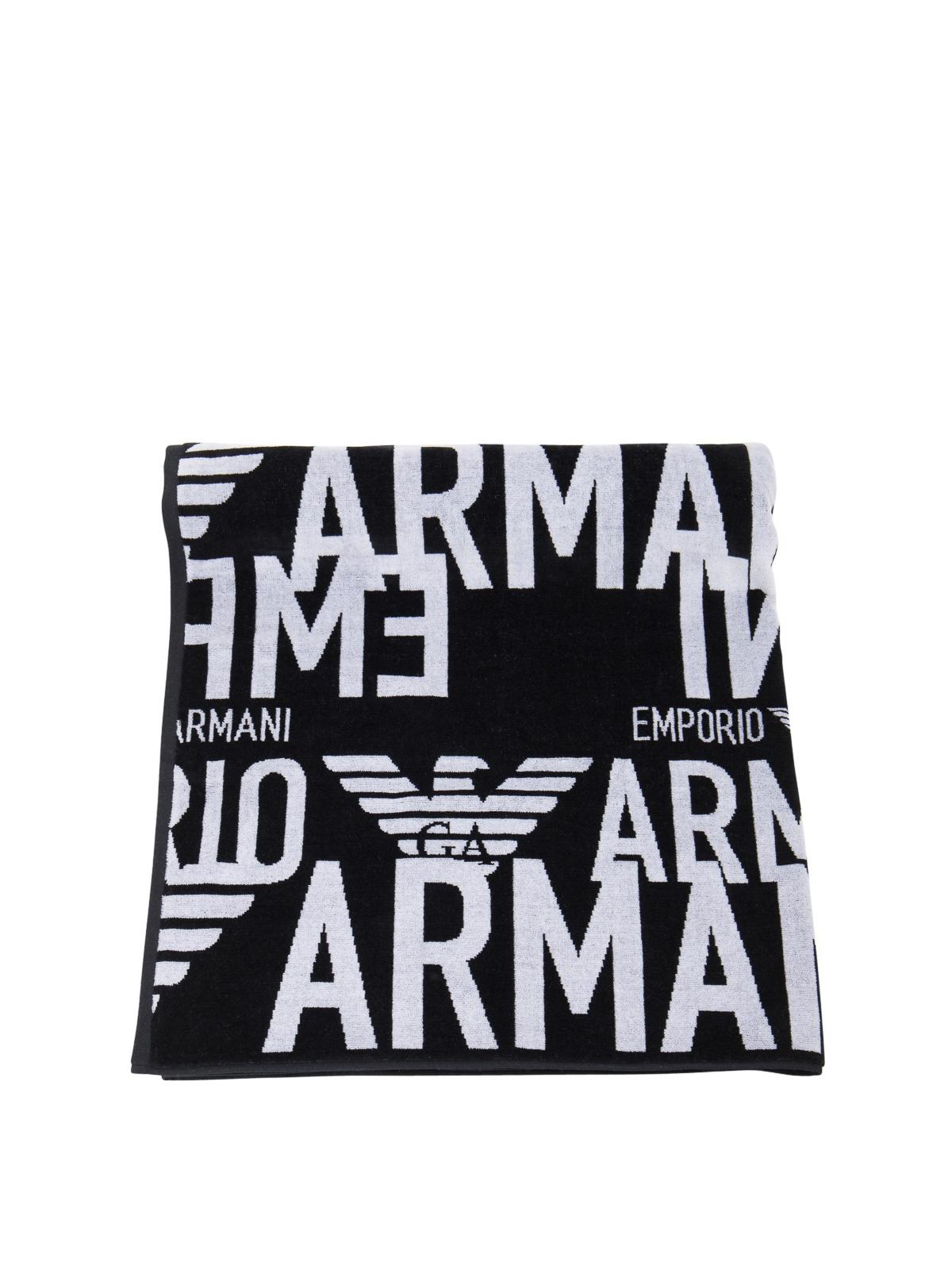 Emporio Armani Cottons LOGO EMBROIDERY COTTON BEACH TOWEL