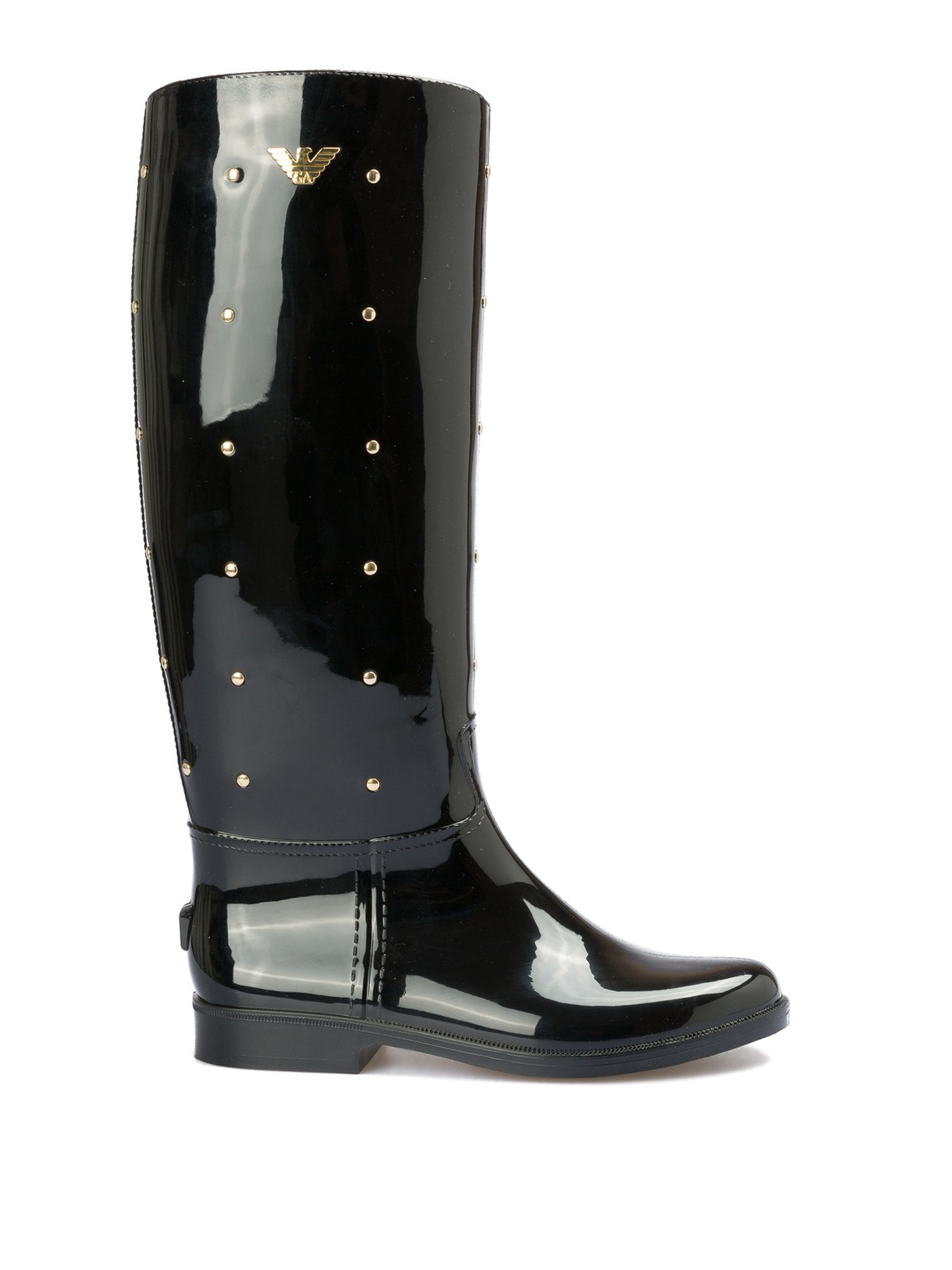 ba61c74f Emporio Armani - Rubber rain boots with golden studs and logo ...