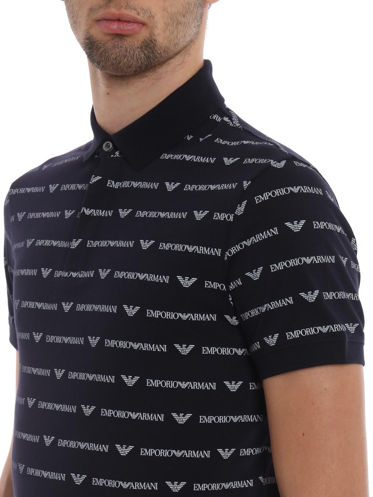 299c081e4c Emporio Armani - All over logo print jersey polo shirt - polo shirts ...
