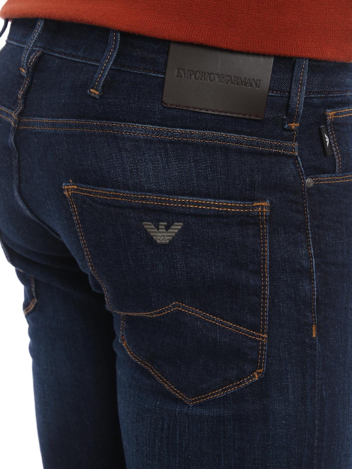 c1ba8aa859 Emporio Armani - Dark wash denim slim fit jeans - straight leg jeans ...