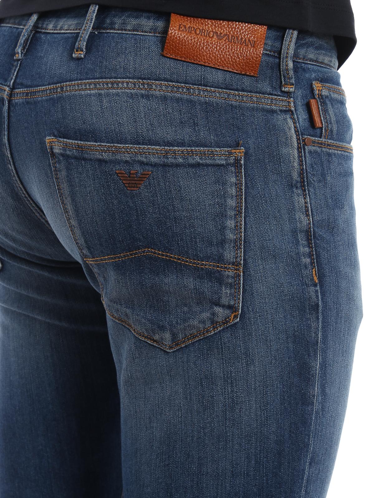 6971600154dd Emporio Armani - Slim fit five pocket denim jeans - straight leg ...