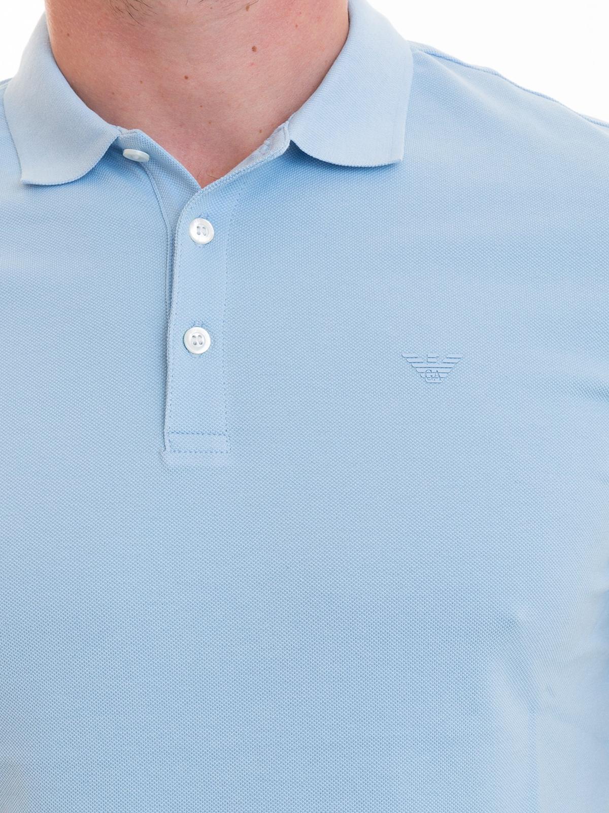 65166b8a Emporio Armani - Tonal logo light blue polo shirt - polo shirts ...
