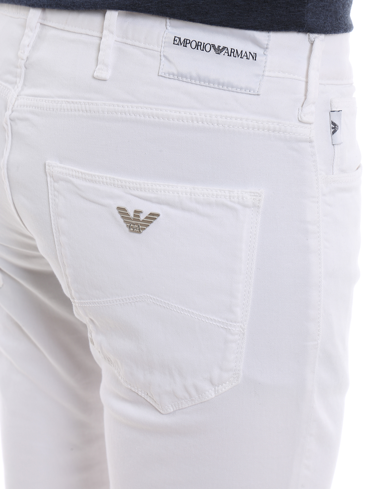 details for buy popular incredible prices Emporio Armani - White denim slim fit jeans - straight leg ...