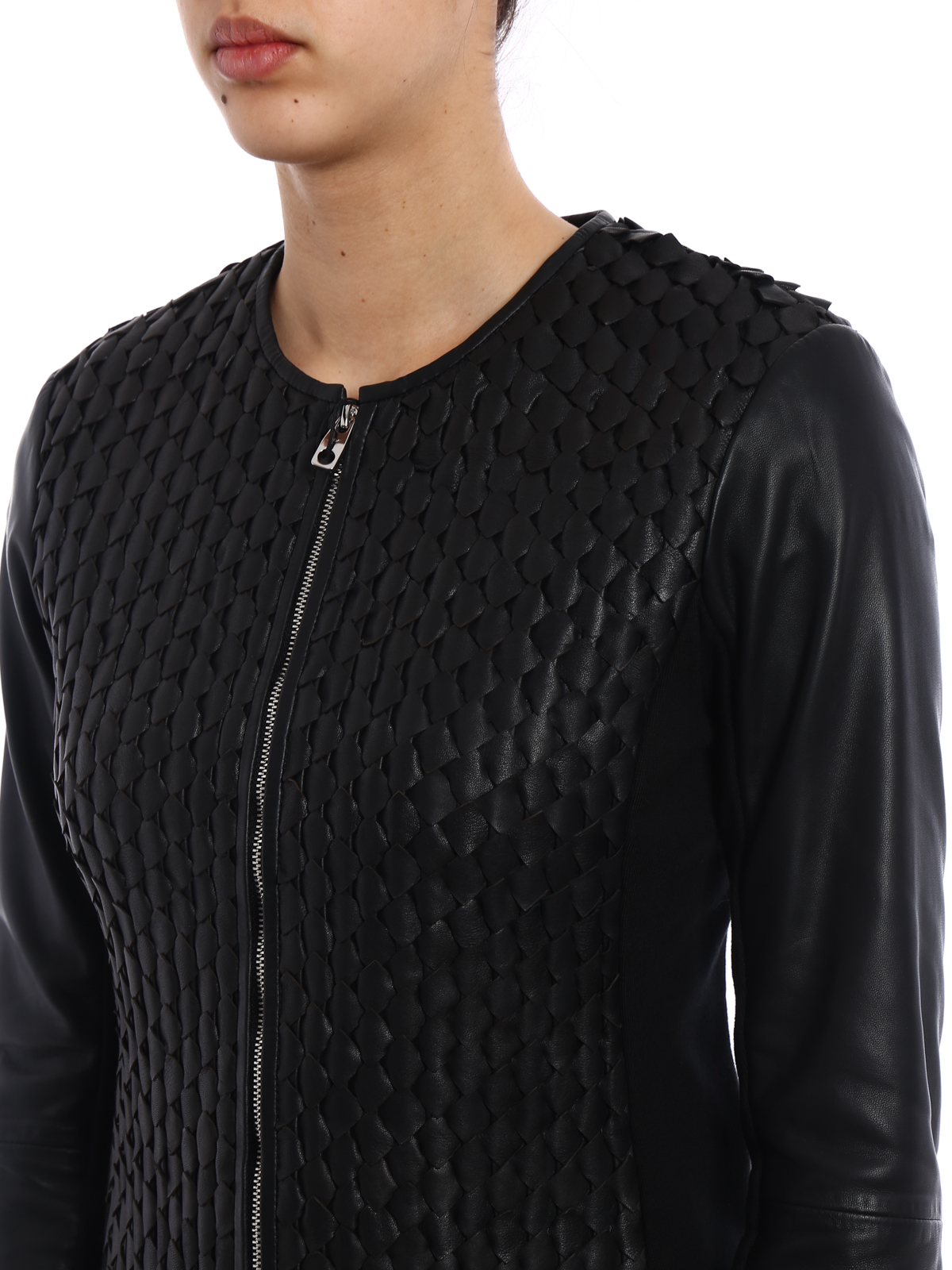 Blouson Noir Armani Emporio Cuir En Vestes qx6xZ57