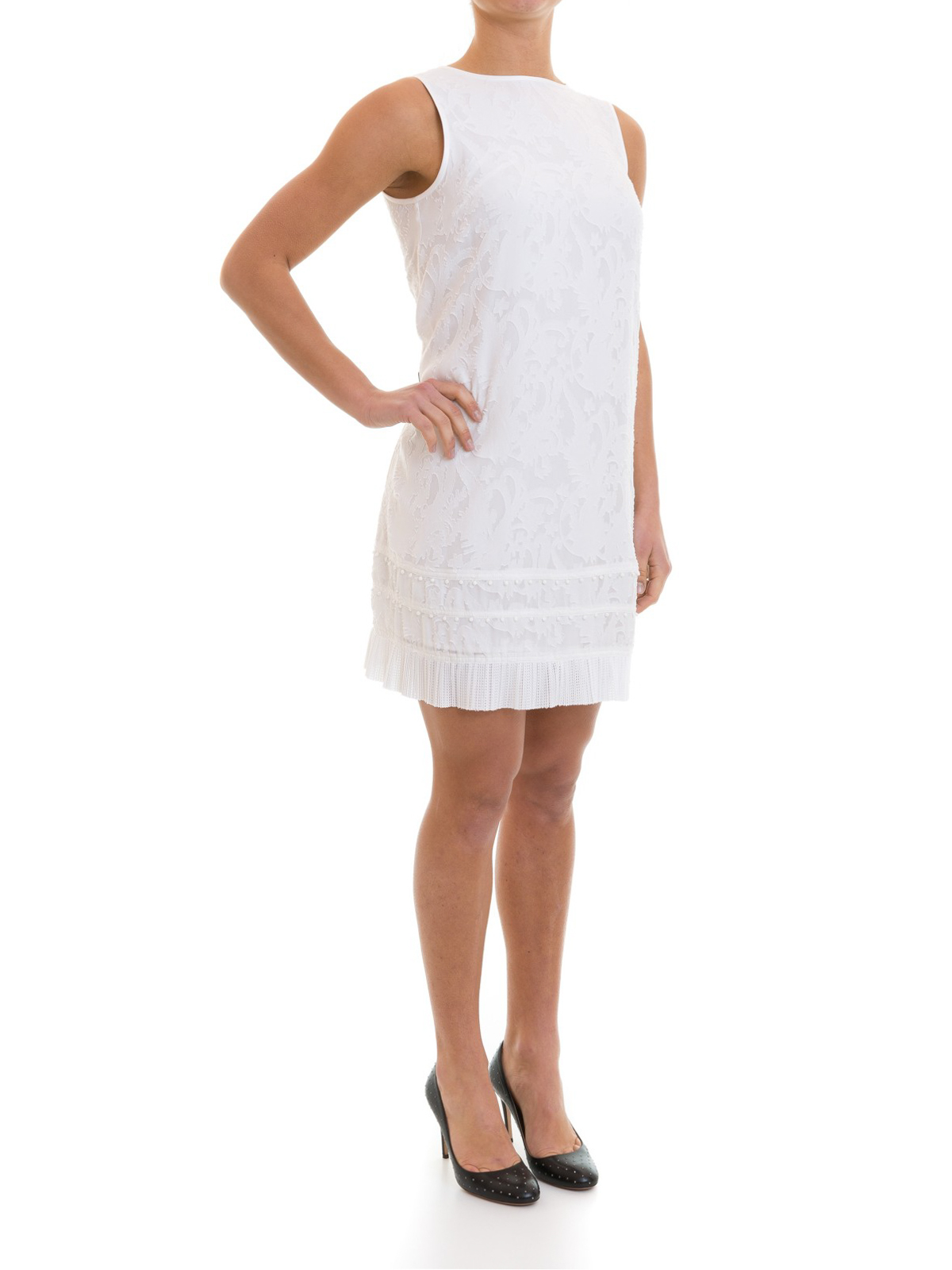 Embroidered and fringed white dress by Emporio Armani - cocktail ...