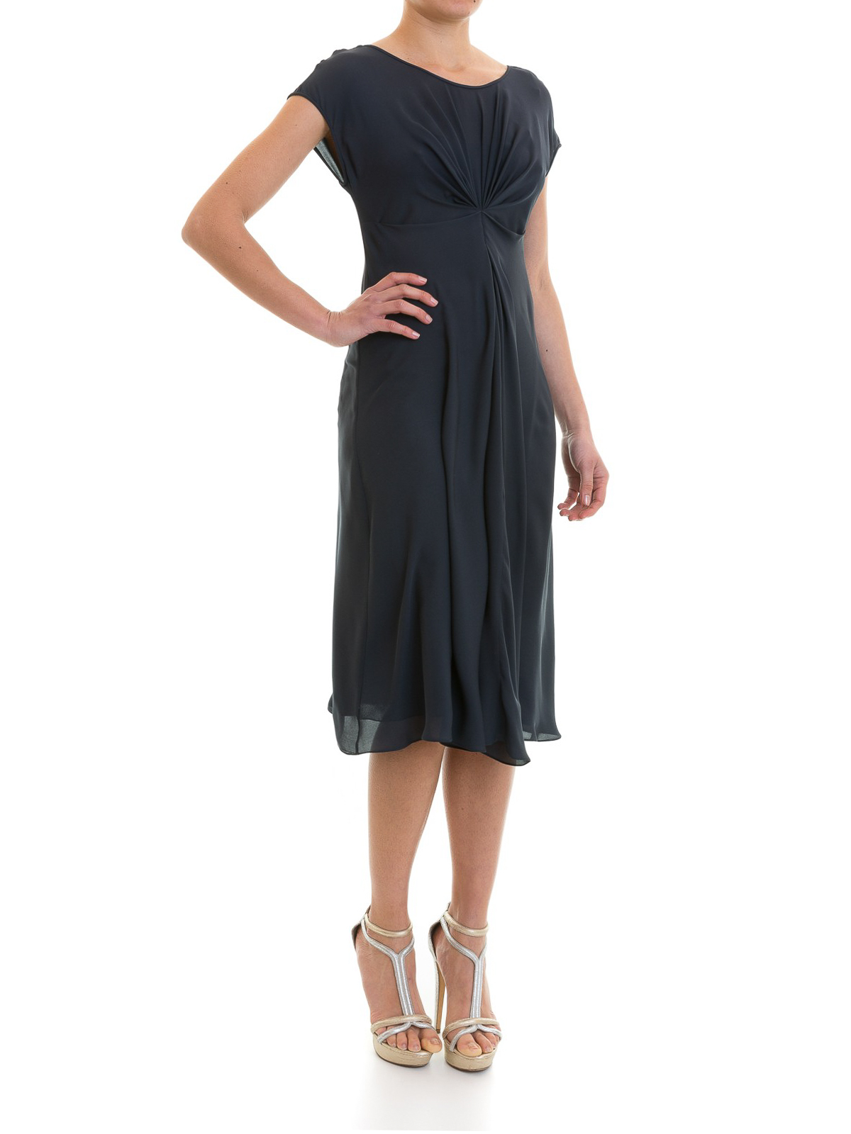 Pleated detail silk dress by Emporio Armani - cocktail dresses | iKRIX
