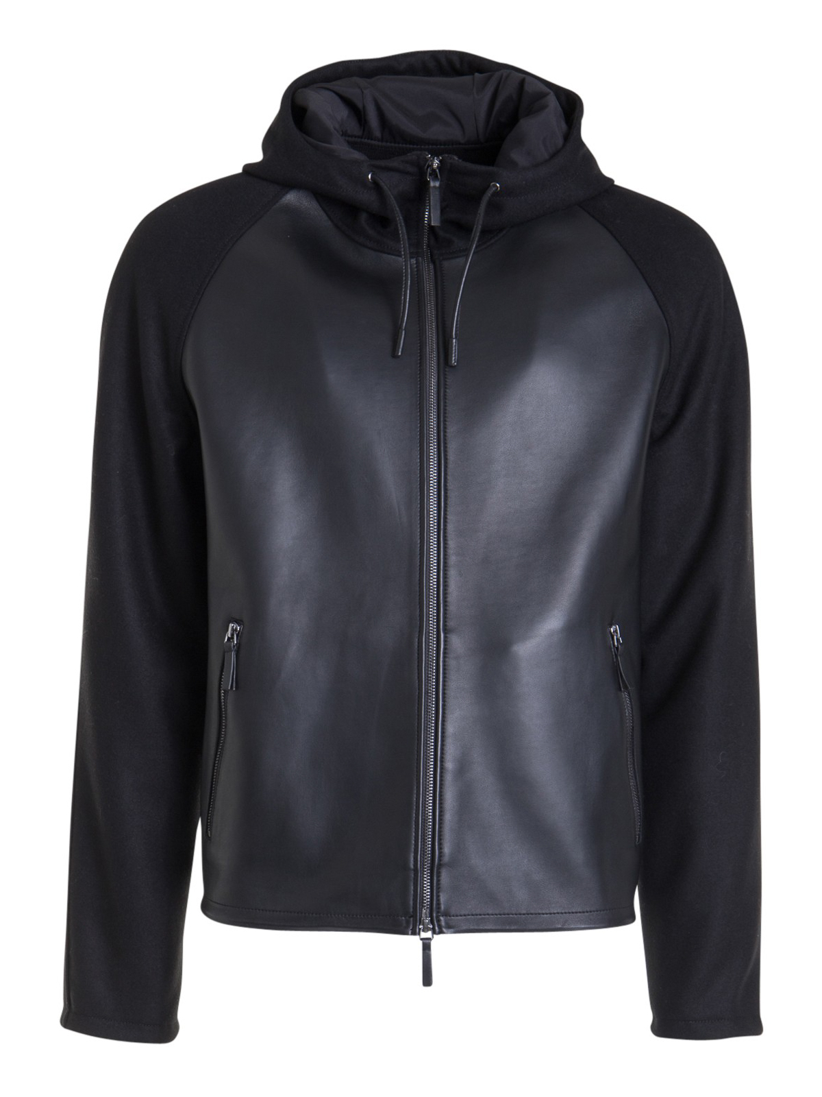Emporio Armani WOOL BLEND DETAIL LEATHER JACKET