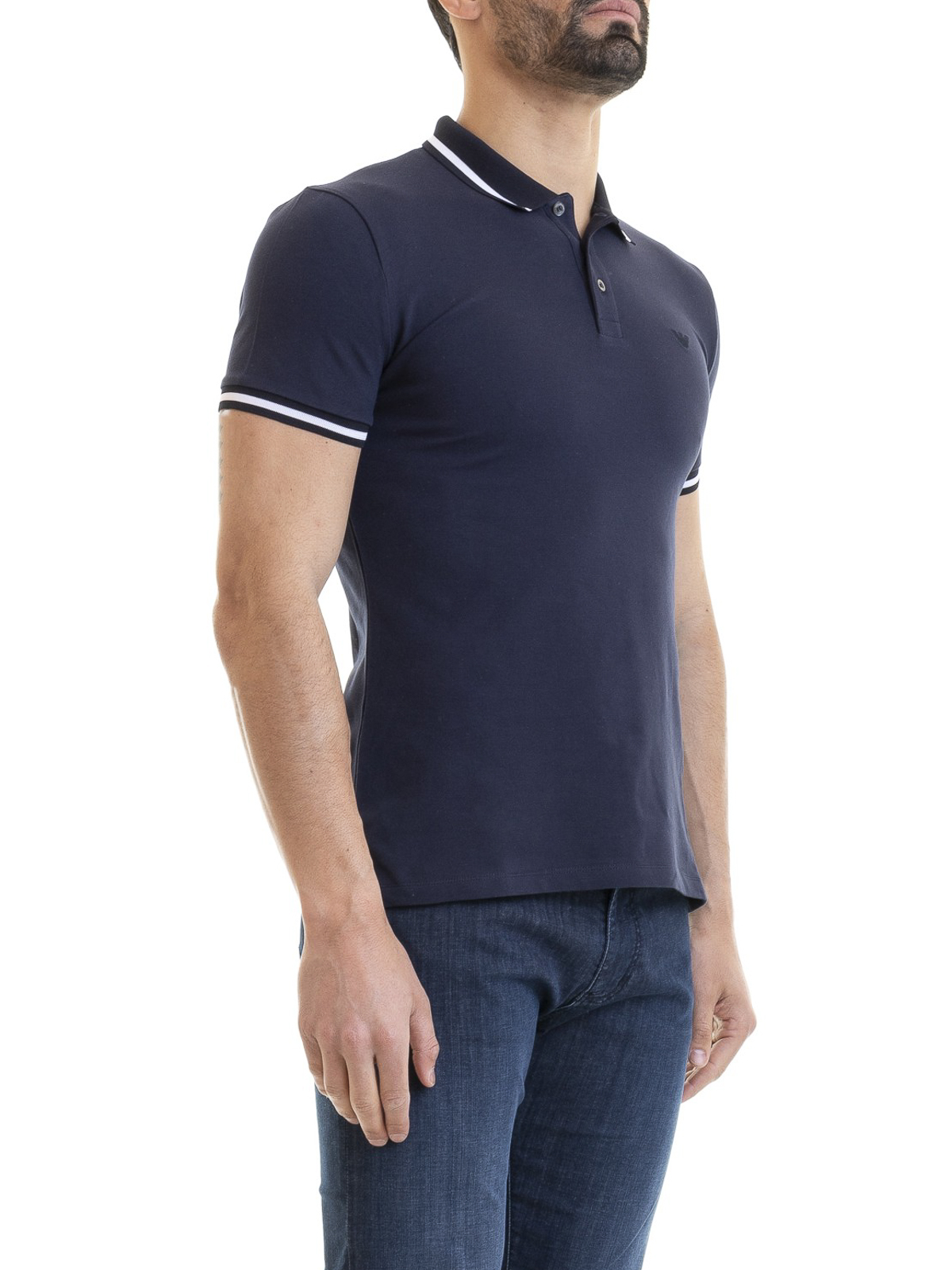 66342edb3b Emporio Armani - Blue stretch cotton polo shirt - polo shirts ...