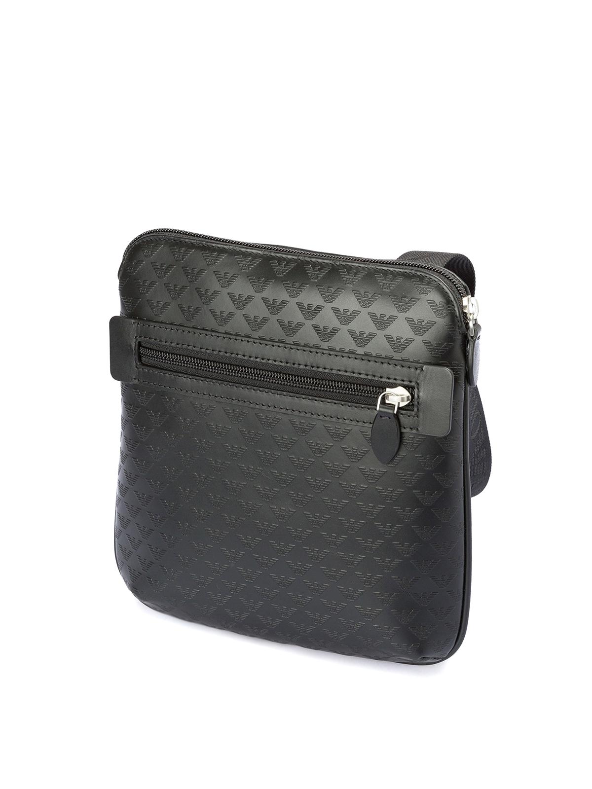 EMPORIO ARMANI  shoulder bags online - Printed leather flat messenger bag 5e1a74f7e6a89