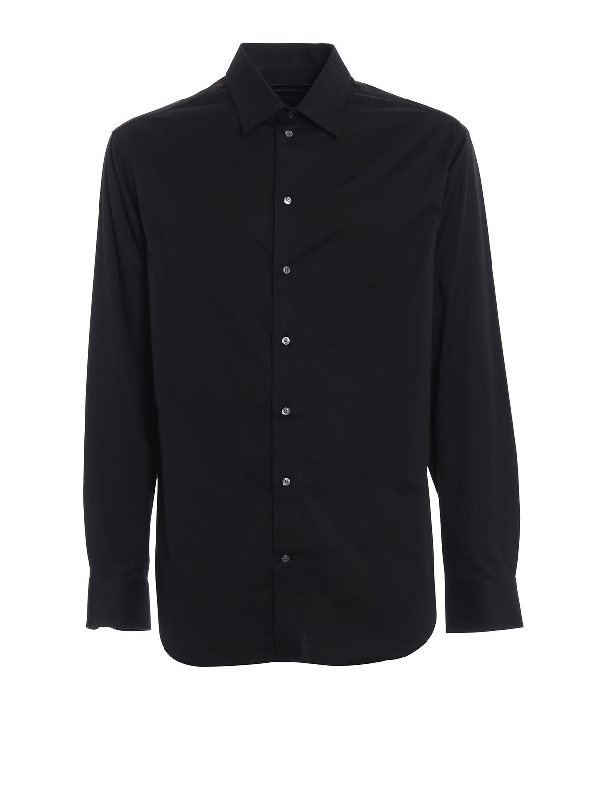 4818534433 Emporio Armani - Camicia nera in cotone stretch - camicie ...