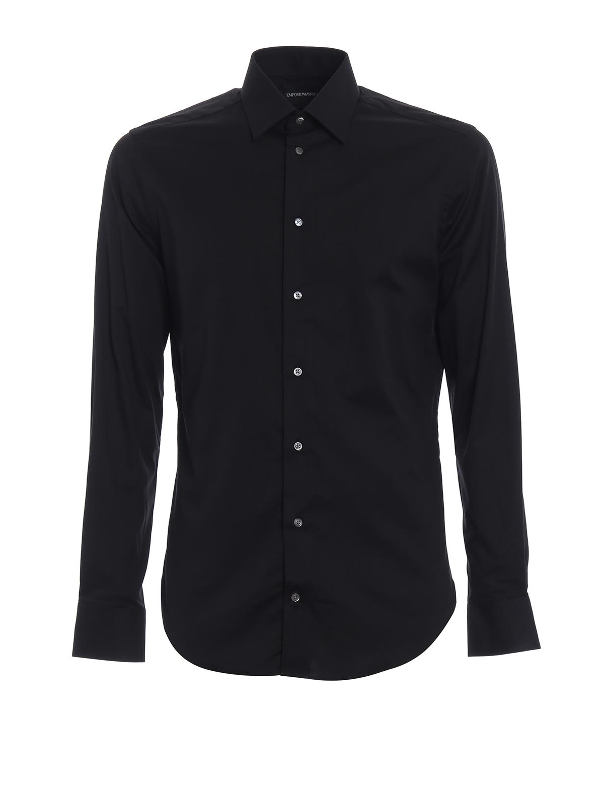 Cotton Poplin Black Slim Fit Shirt By Emporio Armani