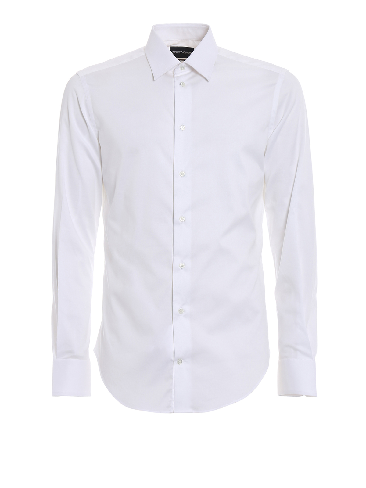 Cotton poplin white slim fit shirt by emporio armani for What is a poplin shirt