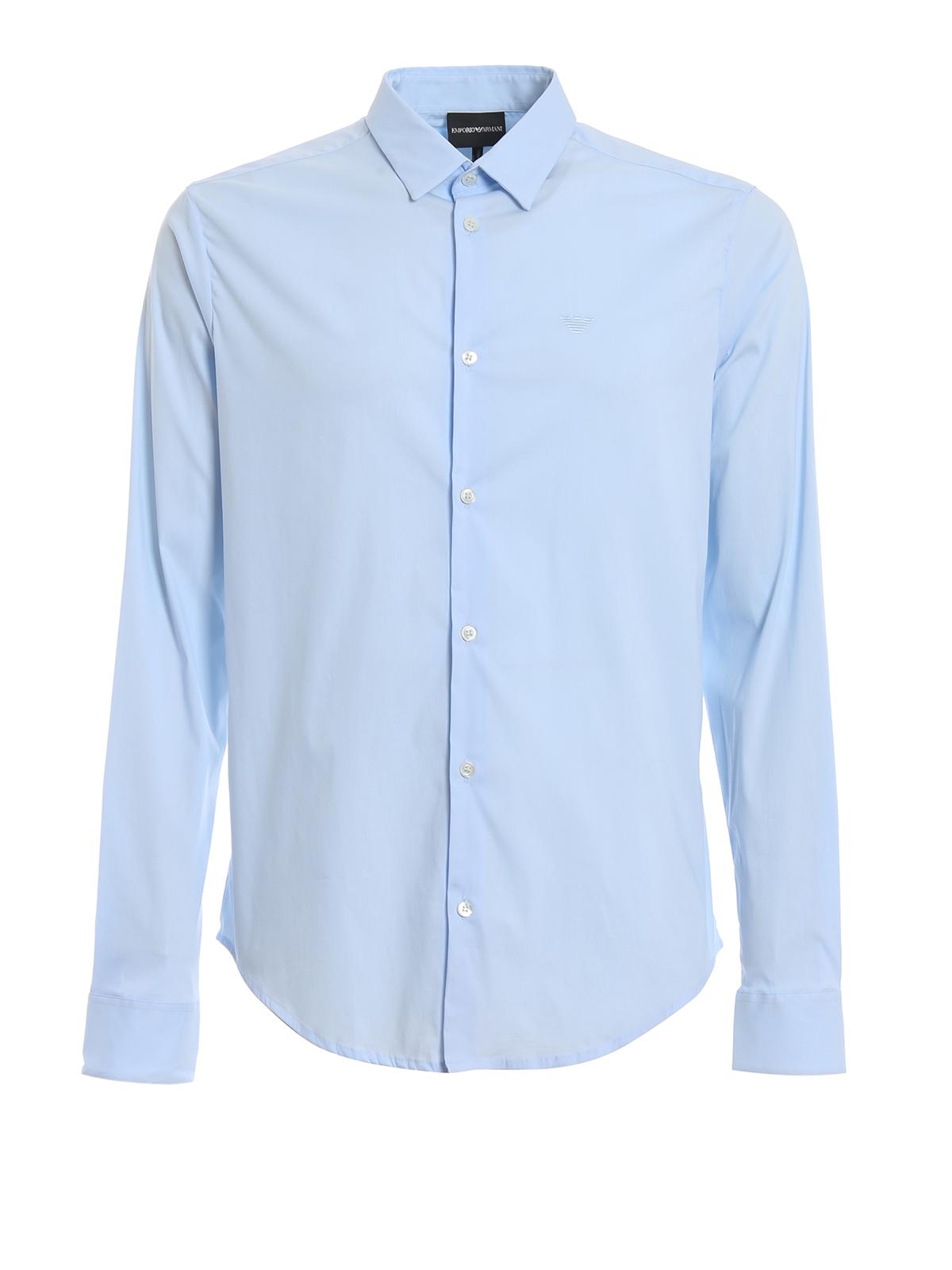 a0183f7c Emporio Armani - Sky blue stretch poplin slim fit shirt - پیراهن ...