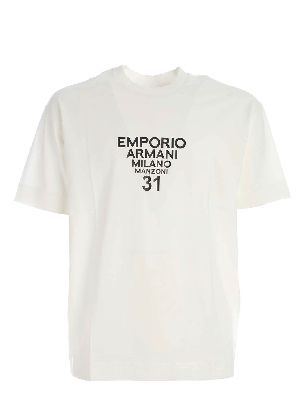 Emporio Armani BLACK LOGO PRINT T-SHIRT IN WHITE