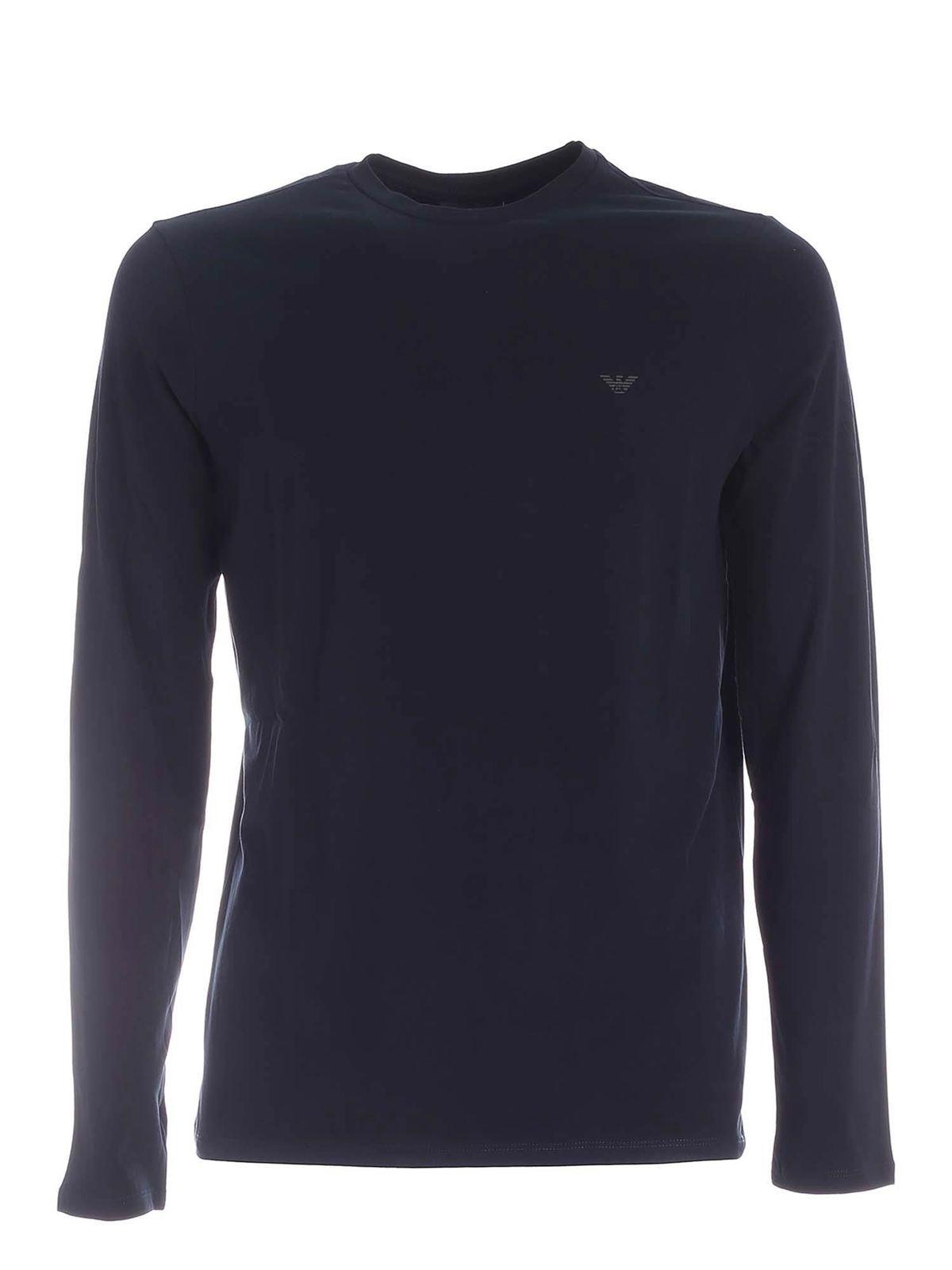 Emporio Armani BLUE LONG-SLEEVED T-SHIRT WITH LOGO