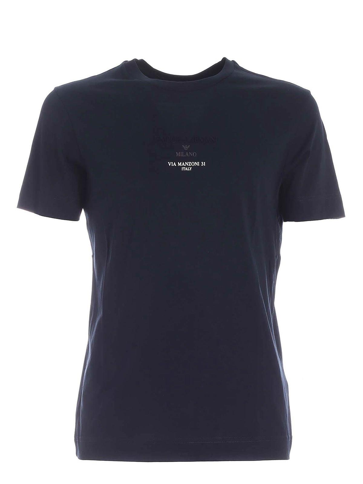 Emporio Armani LOGO PRINT T-SHIRT IN BLUE