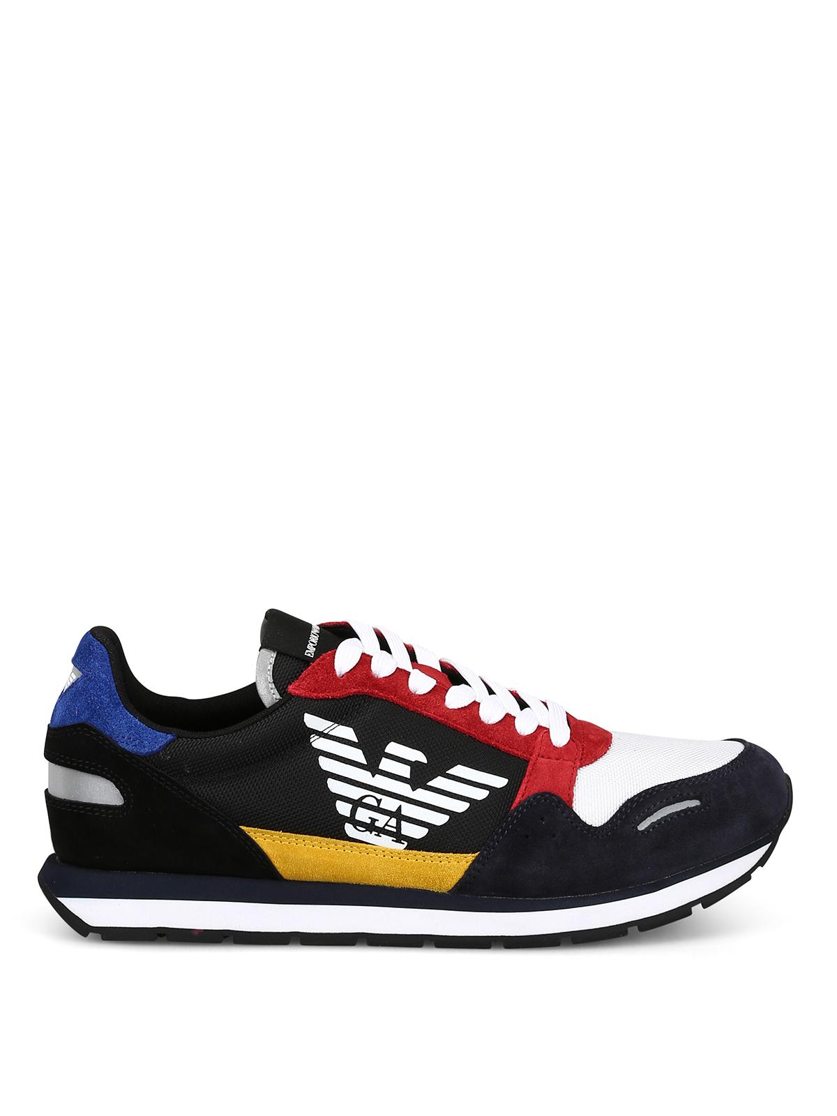Navy black suede runner sneakers