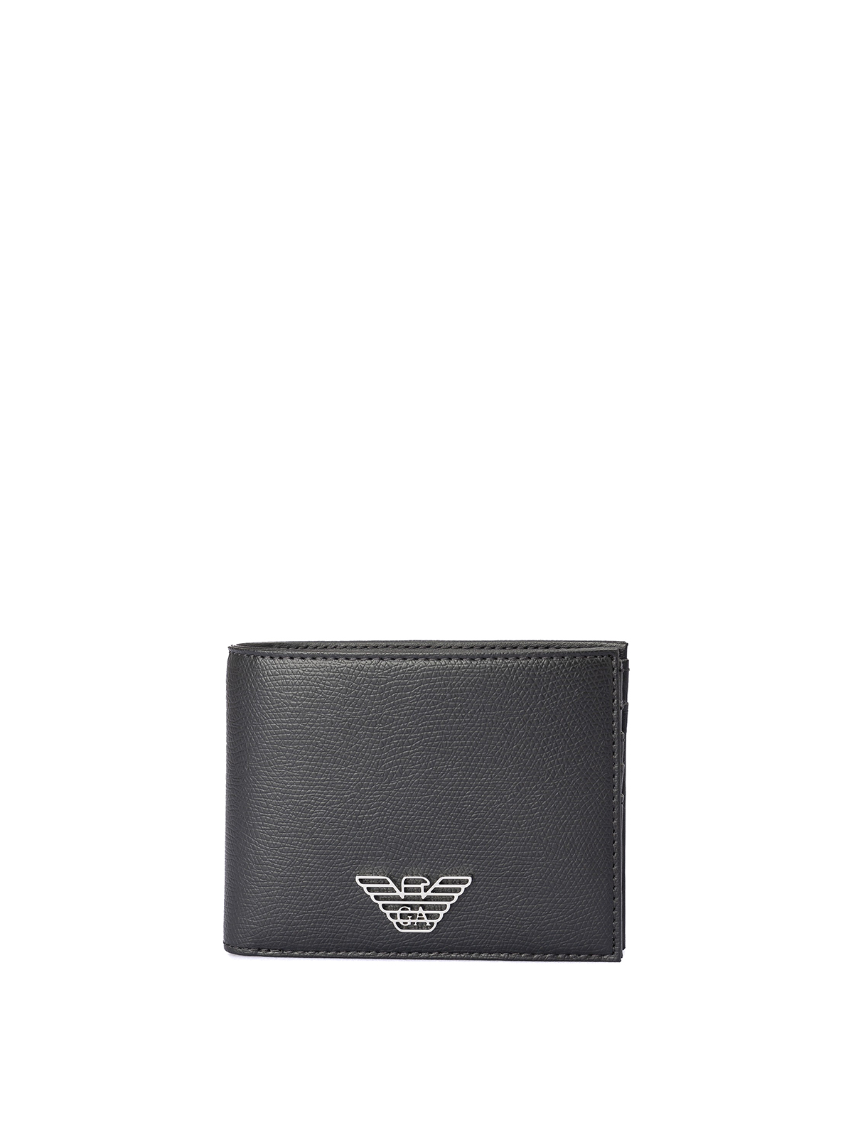 Emporio Armani Coin Pocket Faux Leather Wallet In Black