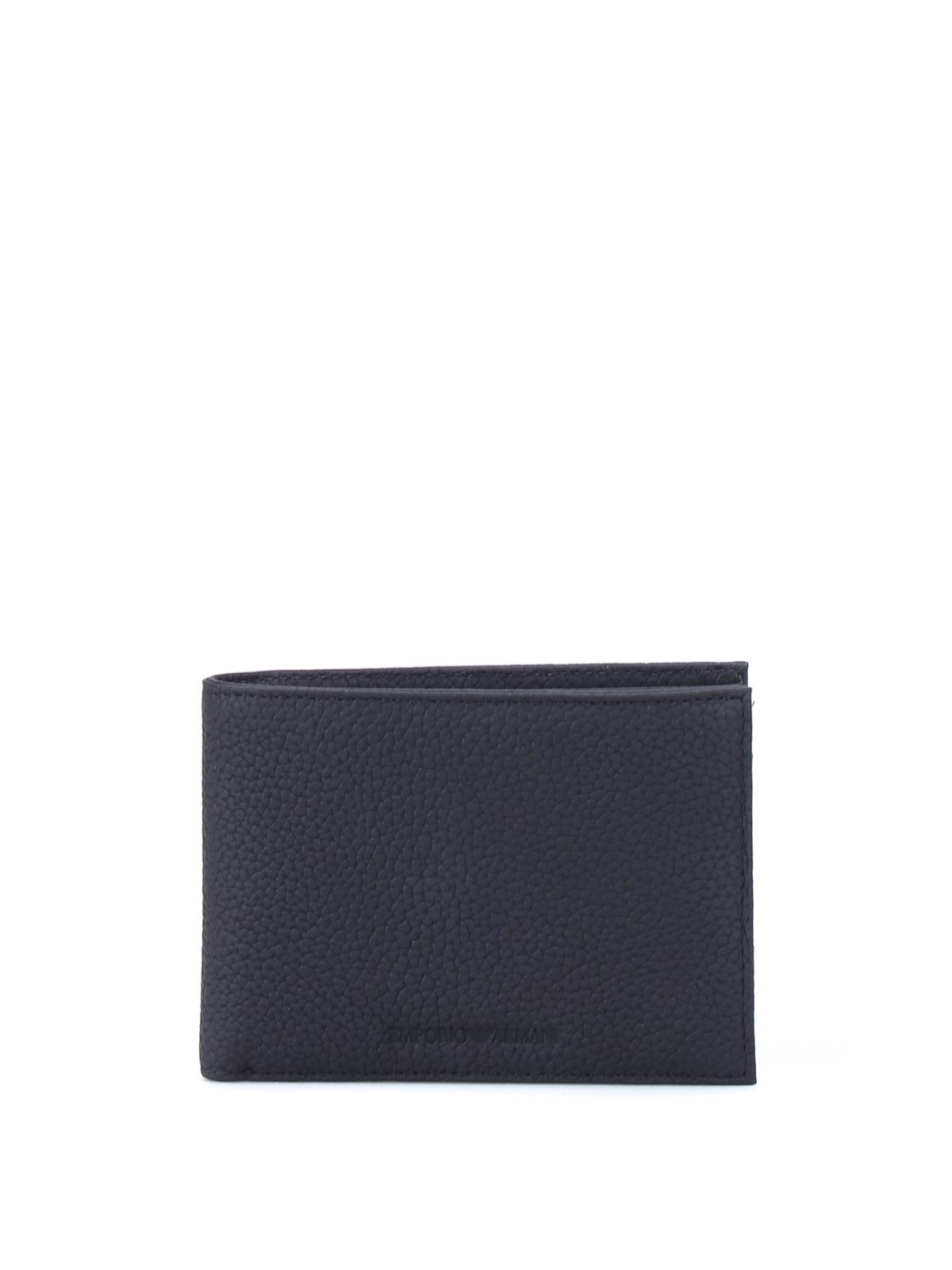 5468c21d62 Emporio Armani - Portafoglio bi-fold a grana nero - portafogli ...