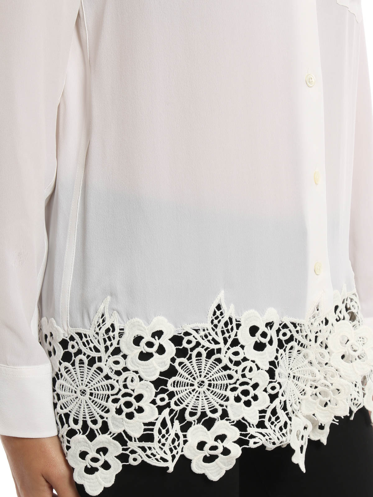 1afe00b725f8bc Equipment - Washed silk Reese shirt with lace - shirts ...