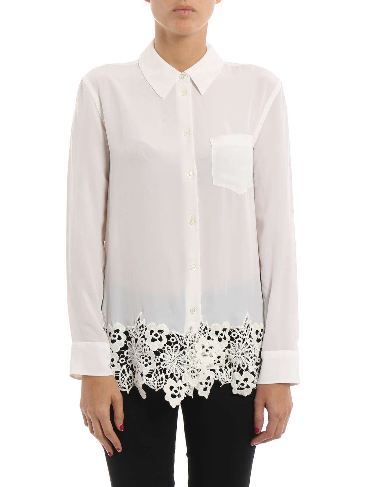 bad4d12df49deb EQUIPMENT  shirts online - Washed silk Reese shirt with lace