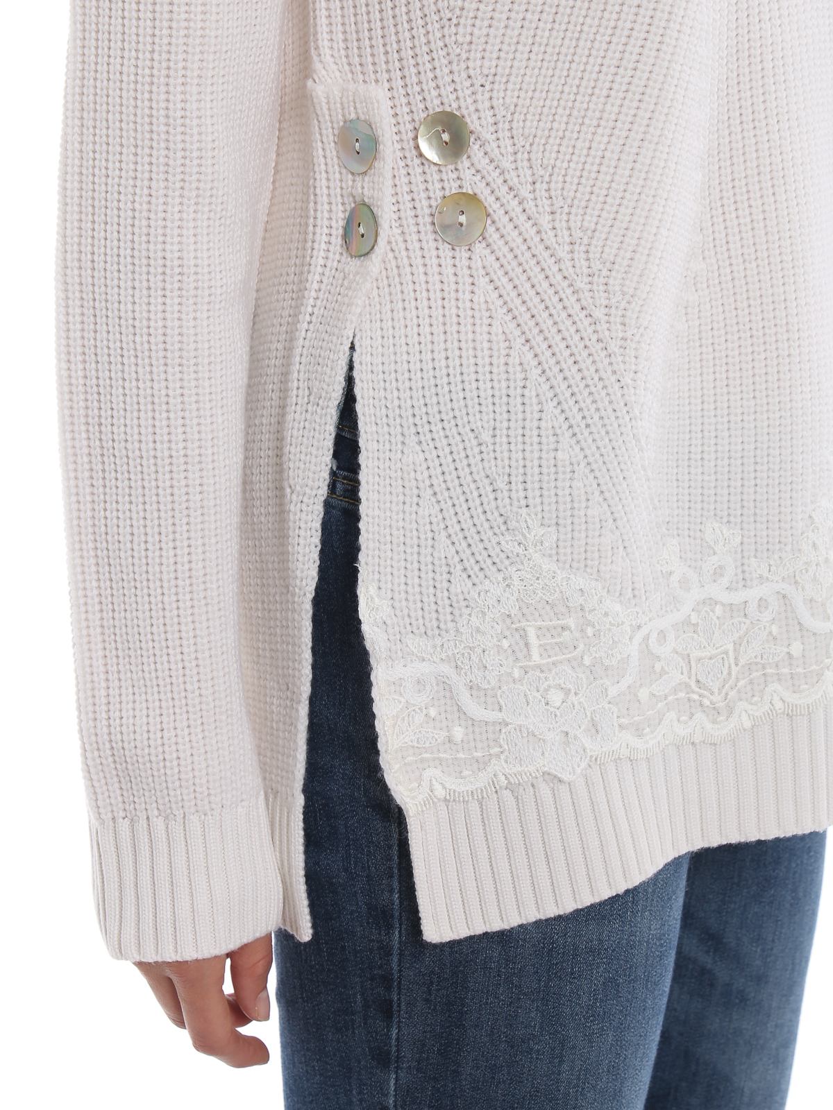 Ermanno Scervino Lace Detailed White Ribbed Wool Sweater Crew Necks Mg1900249