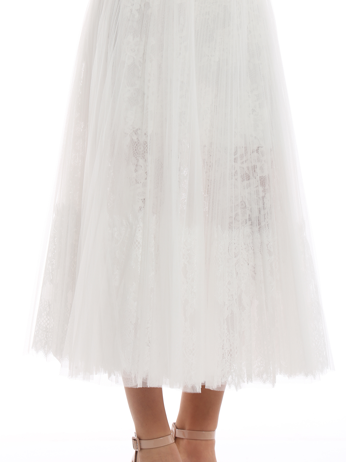 Tulle Lace Scervino Skirt Ermanno And Long White Pleated Midi QrCxBsthd