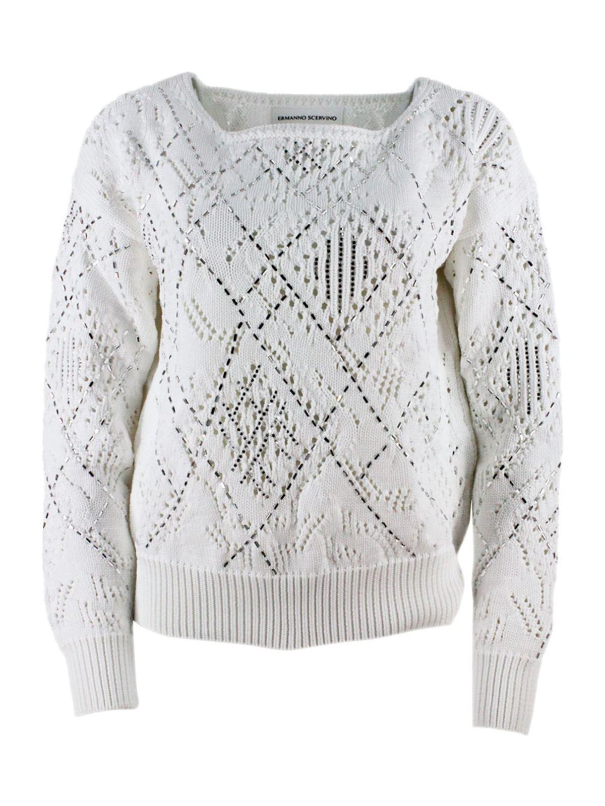Ermanno Scervino Beads Pullover In White